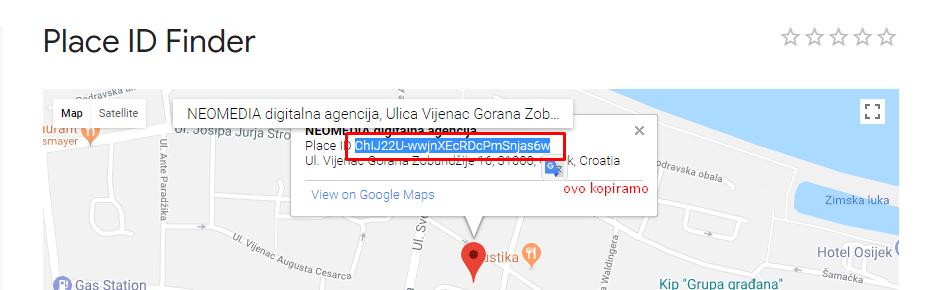 Označeno je plavo ono što kopiramo kao Place ID