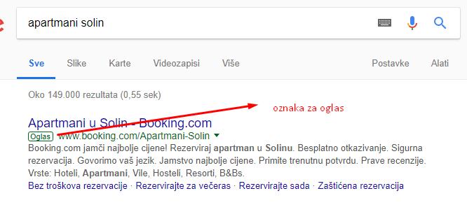 PPC oglašavanje, ili općenito oglase možemo prepoznati po zelenoj oznaci da je u pitanje plaćeno oglašavanje