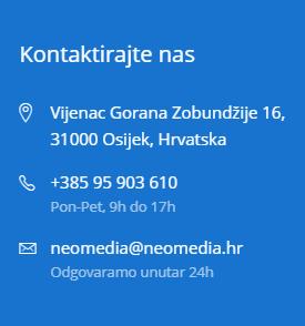 Puna adresa, kontakt broja, i kontakt e-mail.