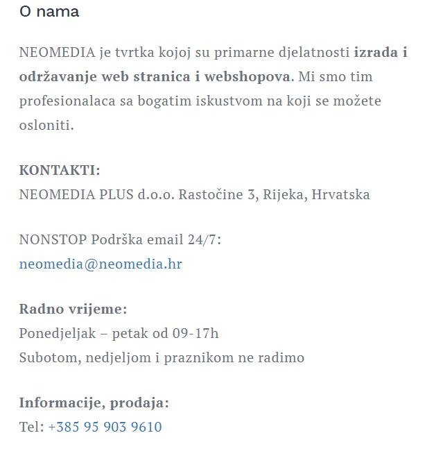 Neomedia kontakt podaci