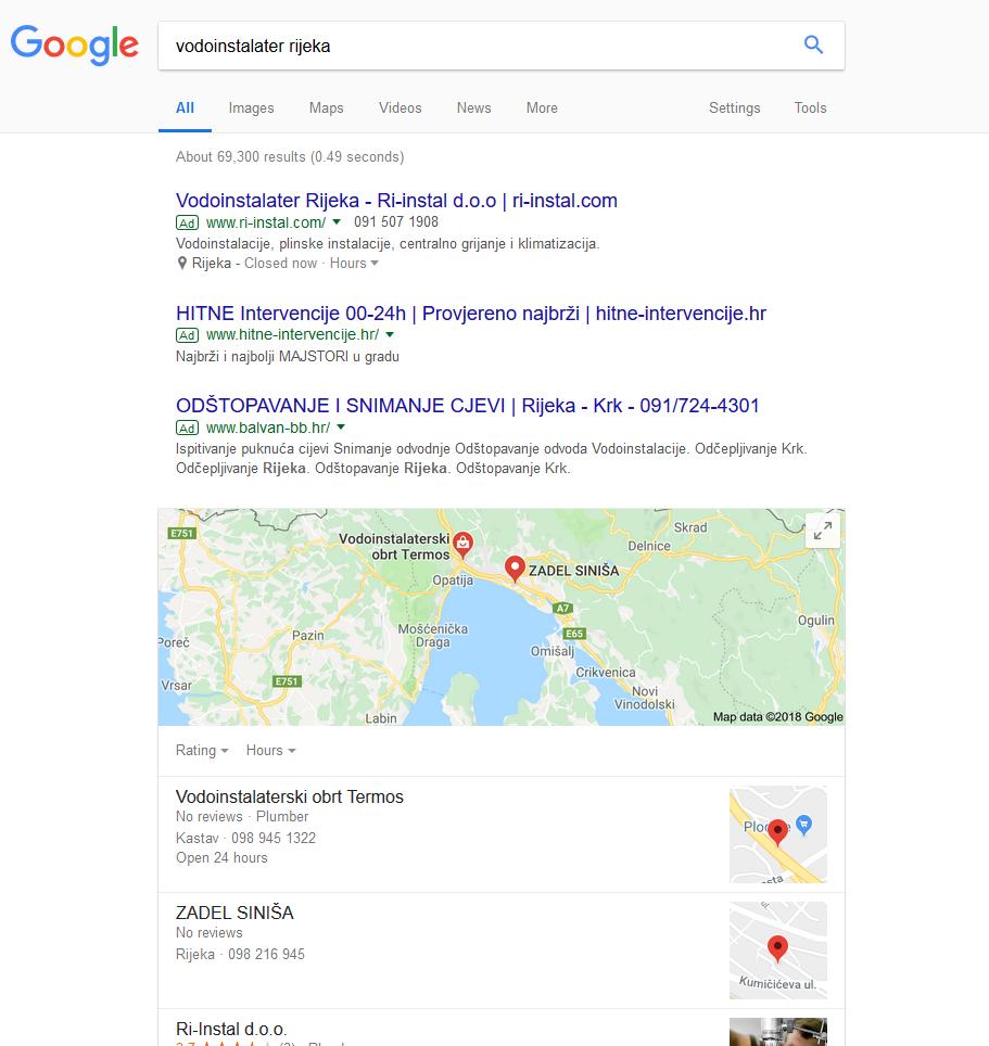 Kada vidimo ovakav prikaz: prvo reklame, pa 3 unosa sa Google karte i još ispod ostale web stranice koje se nalaze u blizini, jasno je koliko je važno biti unutar top 3 web stranice