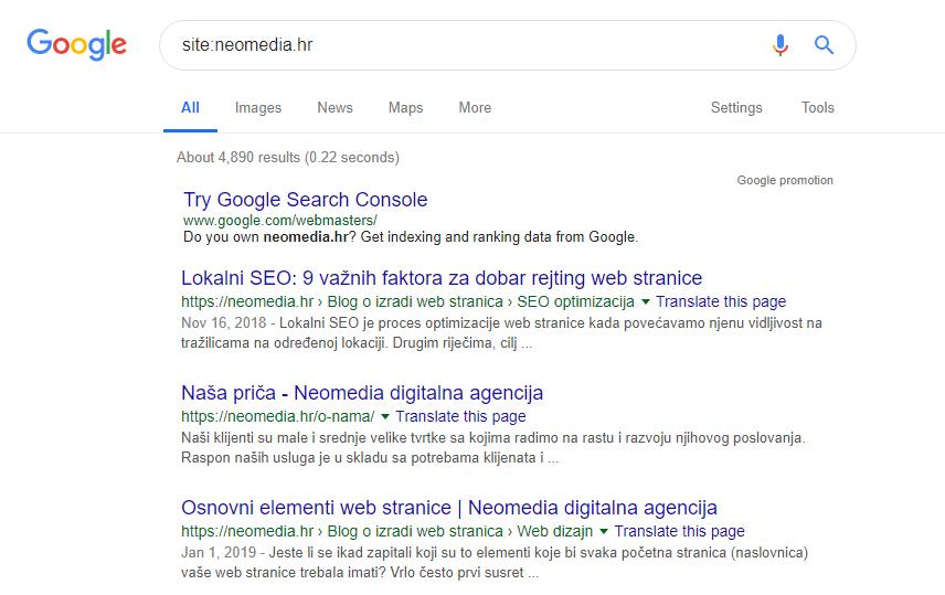 Upit na tražilici Google sa kojom provjeramo indeksiranost stranice