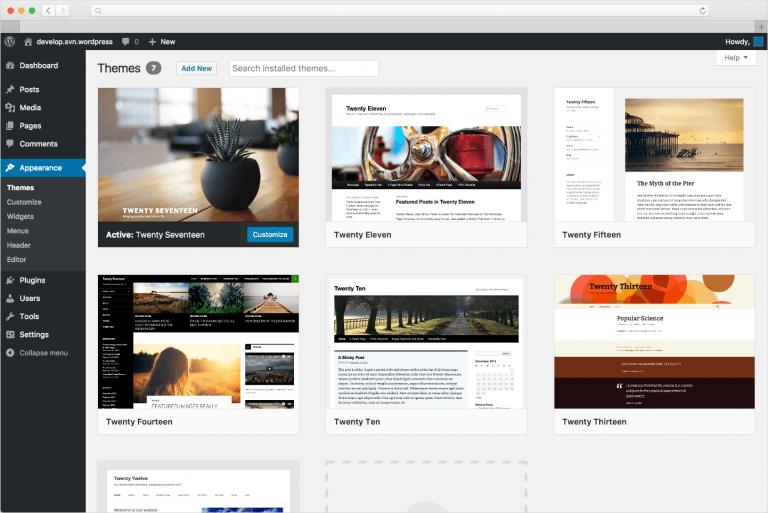 WordPress administracijsko sučelje